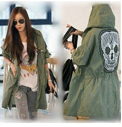 2014 new and the wind in the spring and autumn outfit back skull ladies leisure fashion hunting coat ladies Slim yards trench