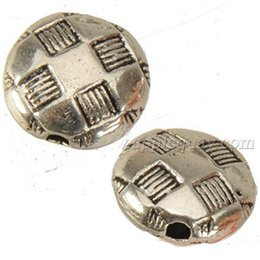 jewelry components flat beads wholesales bracelets diy necklaces making round football design metal vintage silver fashion 10x5mm 200pcs