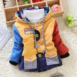 Hot sale 2015 new children clothing patchwork boys cool winter warm jacket baby outwear coats sweaters boys Down & Parkas