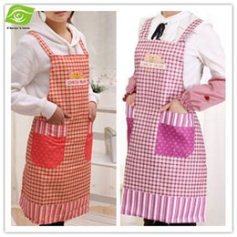 Wholesale New Arrival Cartoon Bear Cleaning Women Kitchen Apron delantal cocina Oil proof Anti pollution Shoulders Grid Cooking Apron dandys