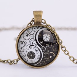 Wholesale magic witchcraft Glass Cabochon necklaces time gem pendant necklace ancient retro jewelry women men gift silver bronze