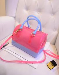 Wholesale-2015 new handbag Macaron color beach bags jelly bag handbag candy color transparent fashion handbags