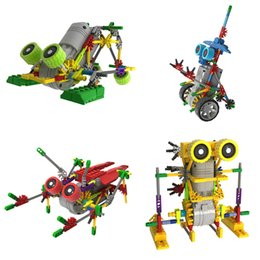 Wholesale Robot Assembled Building Blocks Educational DIY Bricks Toys Electric Motor Plastic Robot Christmas Gift