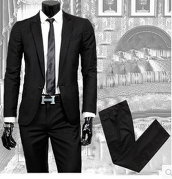 Wholesale New Slim Fit Mens Suit Fashion Button Notch Lapel Tuxedo Flat Front Pants Slim Style Suit