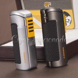 Wholesale-COHIBA Gadgets Pocket Fashion Qualtiy Metal Refillable Windproof 3 Torch Jet Flame Gas Cigarette Lighter W  Punch