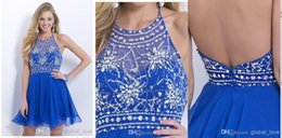 Wholesale Cheap High Quality Best Service Chiffon Open The Back Sexy Navy Sheer Cocktail Dresses Halter Homecoming Dress Short Party Dress A line