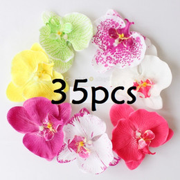 """35pcs 3"""" mixed Color Fabric Orchid Flower Hair Clip Bridal Wedding Hawaii Party"""