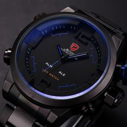 Wholesale SHARK Analog Digital LED Display Stainless Steel Masculino Relojes Black Blue Date Day Alarm Men s Outdoor Sport Quartz Wrist Watch SH106