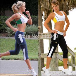 New 2014 Women Capri Running yoga Sport Pants High Waist Cropped Leggings Fitness