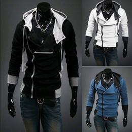 Wholesale Fashion Plus Size M XXXXL NEW HOT Men s Slim Personalized hat Design Hoodies Sweatshirts Jacket Sweater Assassins creed Coat