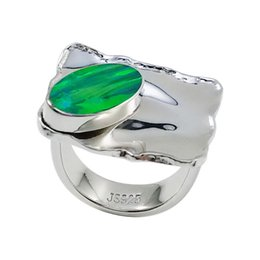 2015 modern design handcrafted sterling Silver rings brilliance Japanese opal gemstone in extensive color for R6508
