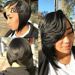 Graceful Beautiful Amazing Wavy Straight Lace Front Wig Front Hairline Real Human Hair Wigs For Black Women 10 12inch Julienchina Bella Hair