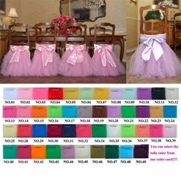 Wholesale Custom Made Tulle Tutu Chair Skirts Wedding Chair Covers Purple Pink White Violet Red Tulle Banquet Chair Cover