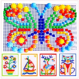 Packed 296 mushroom nail fight inserted toys jigsaw early childhood educational plastic toys 2-7 years