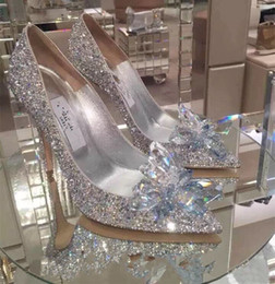 Wholesale Sexy Shining Wedding Accessories Bridal Wedding Shoes Pumps High Heel Pointed Toe Crystal Rhinestone Shoes