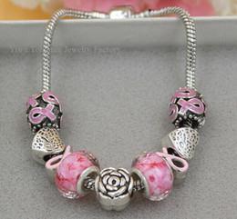 Acheter en ligne Ruban rose sein-Interchangeables sein Pink Ribbon 2016 New sensibilisation au cancer du sein d'arrivée Bijoux DIY Bracelet cancer de gros bijoux