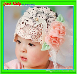 Whole head Lace pink rose headbands with two rose lovey flowers keep warm for baby girls 2015 new design soft headband HST050