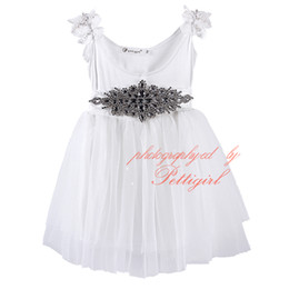 Wholesale Pettigirl Best Sellers Elegance Girls Autumn Dress White Kids Dress With Diaomend Belt Baby Clothing GD81107