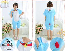 Wholesale 2016 Spring Summer Cosplay Doraemon Cartoon Animal Piece Pajamas Cute Cotton Short Sleeves Men And Women Couple Home Service CC061810