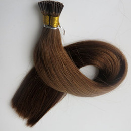 Pre bonded Stick I tip Brazilian human Hair Extensions 100g 100Strands 18 20 22 24inch #6 Medium Brown Indian Hair products