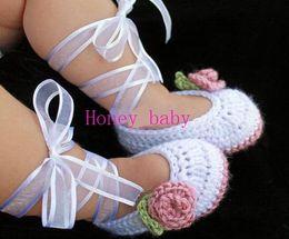 Wholesale Baby Girls Crochet Ballet Shoes Flower Leaves Ribbon Newborn Flattie Prewalker Shoes Toddler Kids Helloyaya Cotton Baby First Walker Shoes