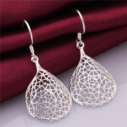 Brand new sterling silver plate Pierced earrings round DFMSE548,women's 925 silver Dangle Chandelier earrings factory direct