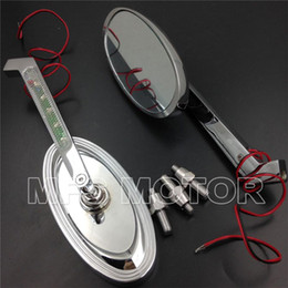 Wholesale Motorcycle Rear View Mirrors For Harley Low Rider V Rod CHROME LED Turn signal Oval style Racing mirrors