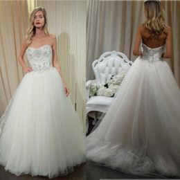 New Princess Ball Gown Wedding Dresses 2016 with Lace Beaded Sweetheart Neckline Court Train Cheap Tulle Bridal Gowns