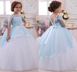 Wholesale Princess Baby Girl s flower girl dress UK Sheer Neck White Ivory Half Sleeves Beads Applique Lace Kid Girl s Pegeant Dresses Formal Party