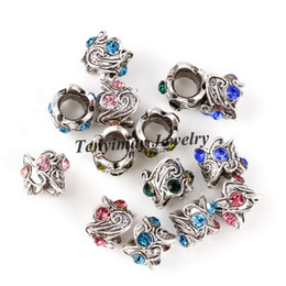 Mixed Color Retro European Charm Beads Rhinestone Big Hole Beads For Snake Chain Bracelet DIY 100pcs Wholesale
