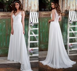Wholesale 2016 Amanda Wyatt Lace Beach Wedding Dresses V neck A line Chiffon Wedding Gowns Summer Simple Bridal Dresses