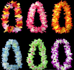 Wholesale wedding Party decoration hawaiian Flowers necklace wreaths Grass skirts accessories necklace artifical flowers colorful drop shipping