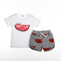 Wholesale Kids Clothes Summer Style Tshirt Pant Set Watermelon Pattern Baby Girls Clothes Set