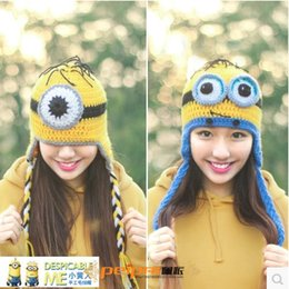 Wholesale 2015 winter warm wool hat Thief Daddy handmade butted cap casual skullies with big ball cartoon minion gorro beanies for women