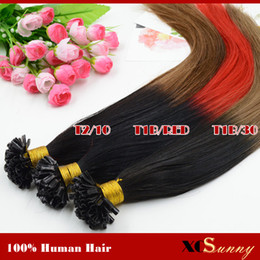 """XCSUNNY 18"""" 20"""" inch Ombre Human Hair Extensions Red 1g s 100g Nail U Tip Hair Ombre Two Tone Dip Dye Malaysian Hair Extensions"""