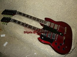 Custom 1275 Double Neck left handed guitar Double neck 6 12 strings 12 strings Electric Guitar in red Free Shipping