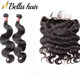 Bella Hair® 8A Lace Frontal Closure With Hair Bundles Unprocessed Virgin Brazilian Hair Extensions Natural Black Color Body Wave Human Hair
