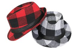 Wholesale-fashion men womenc cotton Ribbon plaid hat jazz hat sun hat outdoors England red plaid bucket hat