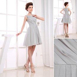 Wholesale Cheap Jewel Neck Ruched Chiffon Gray Short Party Dresses Mini Length Sample Sale Australia