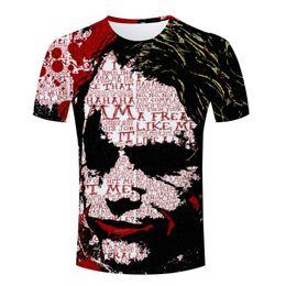 Wholesale-High Quality Joker Funny t-shirt Men Classic S-4XL Short Sleeve Cool Male 3D Designer Skull T-Shirt Top Polyester Casual T Shirt