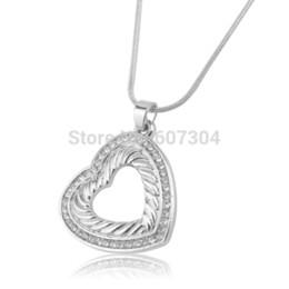 5Pcs Lot Zinc Alloy Zinc Alloy Rhodium Plated Stylish Clear Crystal Hollow Heart Lobster Clasp Pendant Necklace Jewlery
