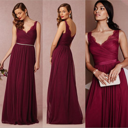 Elegant Burgundy Bridesmaid Dresses 2016 Bhldn A-Line V-Neck Ruffled Long Chiffon maid of Honor Prom Formal Gowns Wedding Party Custom Made