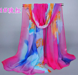 Wholesale New Fashion Chinoiserie Elegant Scarf For Women Girl Big Flower Pattern Chiffon Scarves Mix Colors