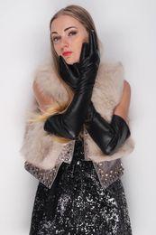 58cm long plain opera eveining first grade Italty goat leather gloves black