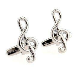 Silver music Cuff Links Enamel Cufflinks sleeve nail Man Accessories Cufflinks