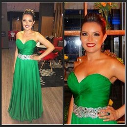 Wholesale Sexy Sweetheart A Line Chiffon Beaded Long Green Rhinestone Prom Dresses Jessica Rabbit Dress Backless Court Train
