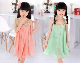 Girls sleeveless sequined dress big swing pleated chiffon Dress Pink Green
