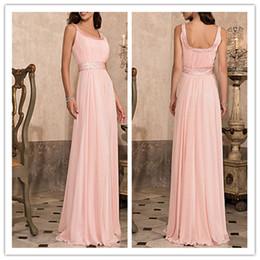 2019 elegant Sheath Column Scoop Floor-length Chiffon Evening Prom Dresses With Beading pink chiffon floor length dresses