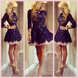 Hot Short Lace Homecoming Dresses with Sheer 3 4 Long Sleeves Crew A Line Cocktail Dresses Zipper Prom Party Gowns