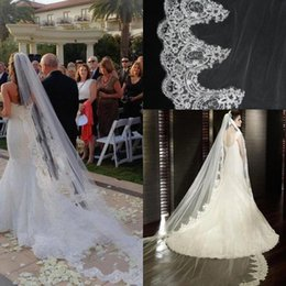Wholesale 2016 In Stock Cheap White Ivory Long Chapel Train Lace Bridal Veils Applique Edge Singer Layer With Comb Wedding Accessories Veil CPA068